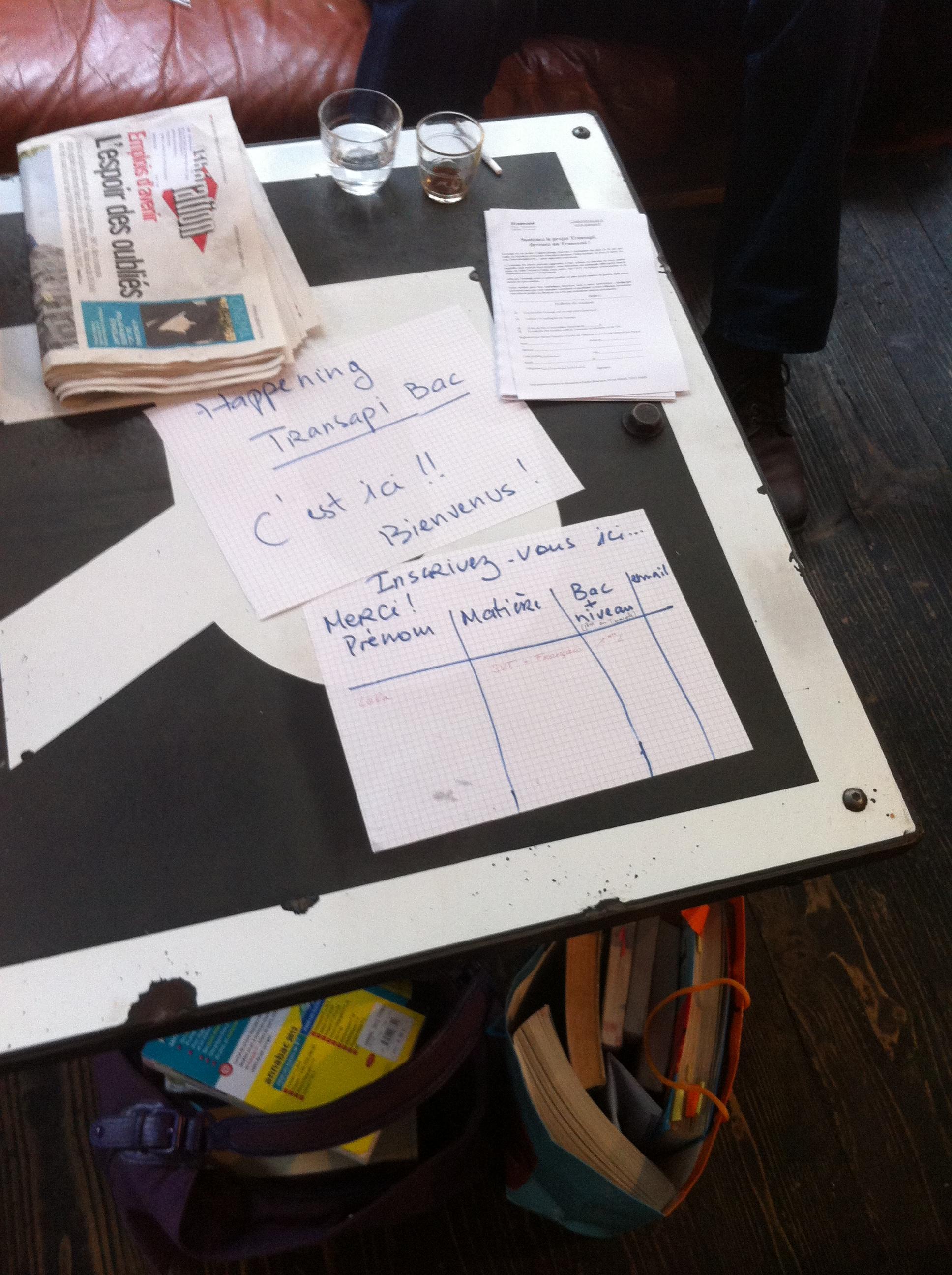 Feuille d'inscription pour le Transapi Bac écrit